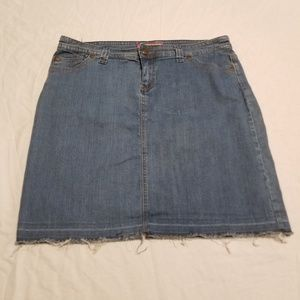 Avenue Size 16 Raw Hem Denim Pencil Skirt